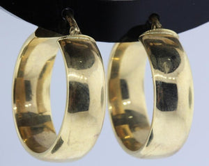 Vintage 9ct Yellow Gold Thick Hoop Earrings