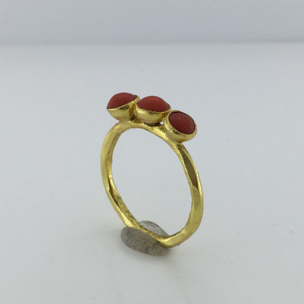 Gold Plated Sterling Silver Three Button Coral Ring
