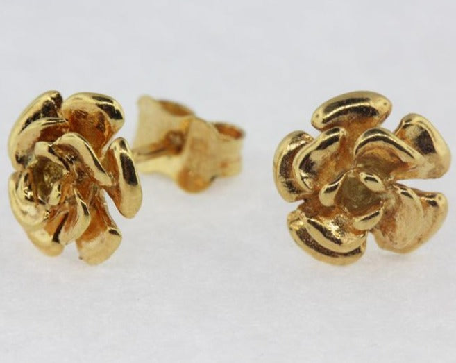Vintage 9ct Yellow Gold Rose Stud Earrings