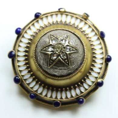 Antique 9ct Yellow Gold Old Cut Diamond, Sapphire and Enamel Star Mourning Brooch