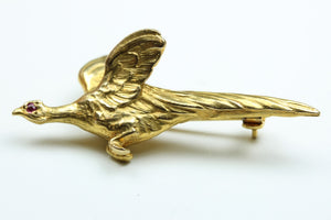 Gold and Ruby Bird Brooch