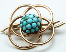 Vintage 9ct Rose Gold Pave Set Turquoise Brooch