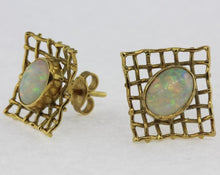 Vintage 9ct Yellow Gold Solid Opal Stud Earrings