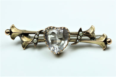 Crystal and Pearl Bar Brooch