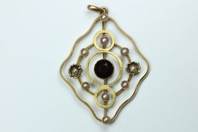 Gold Garnet and Seed Pearl Pendant