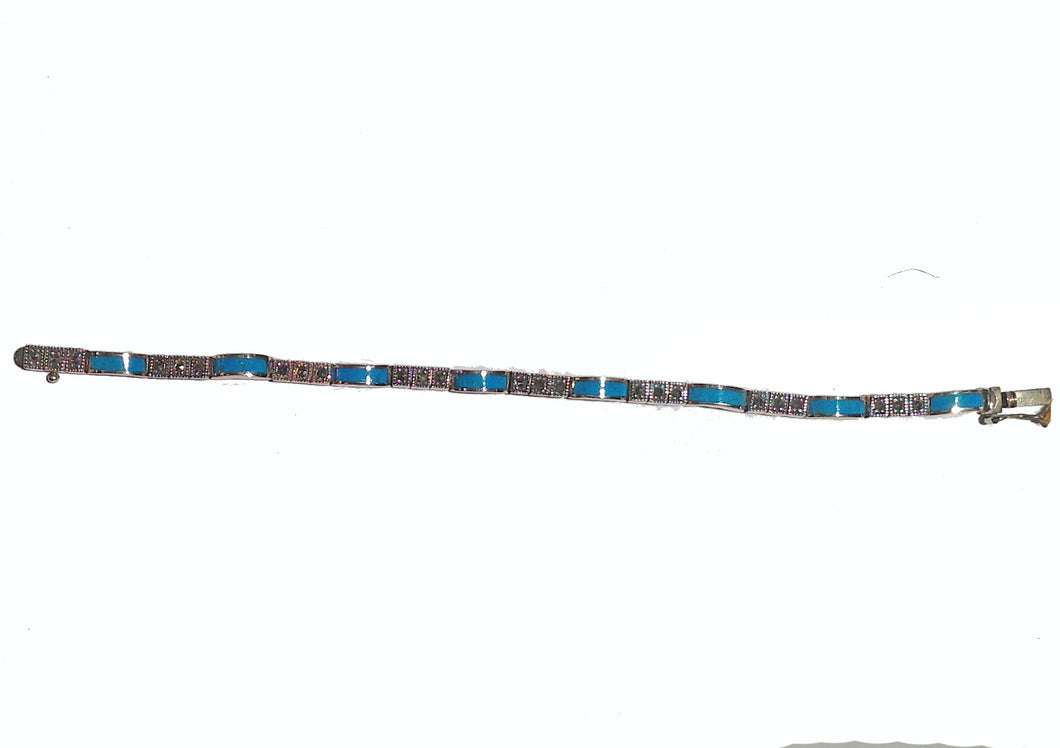 Persian Turquoise and Marcasite Silver Bracelet