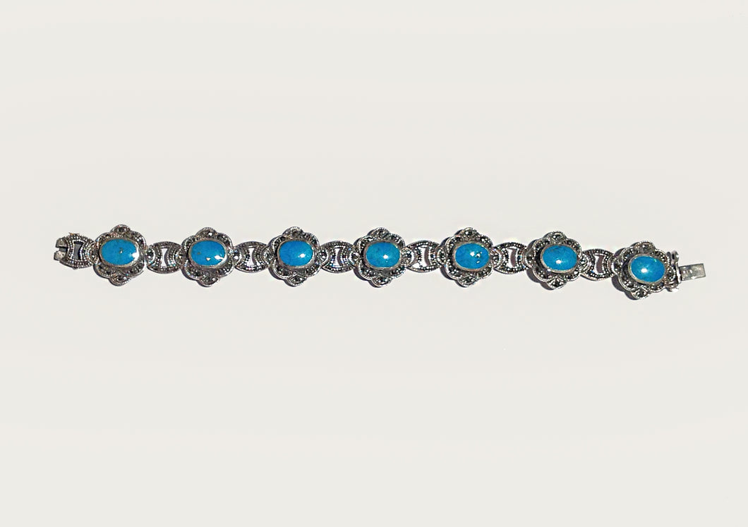 Persian Turquoise Marcasite Silver Bracelet