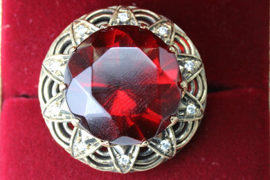 Red amber diamond ring