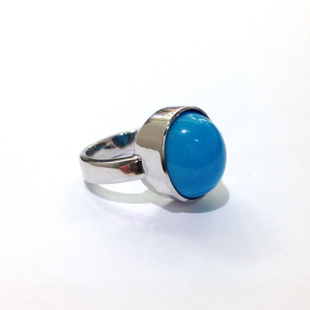 9ct White Gold Natural Persian Turquoise Ring