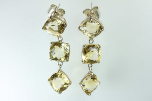 Tri-Drop Citrine Earrings.