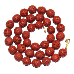 Carved Cinnabar Necklace