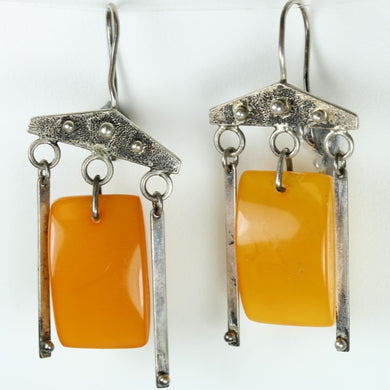 Amber and Silver Hook Earrings