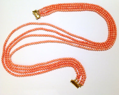 Natural Angel Skin Coral Multi-Strand Graduated Necklace