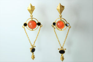 Sunstone and Enamel Stud Drop Earrings
