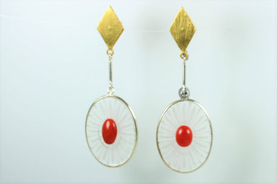 Coral and Glass Stud Drop Earrings