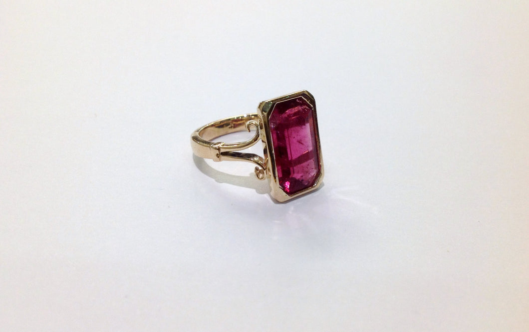 Art Deco Inspired Rubellite Tourmaline Cocktail Ring