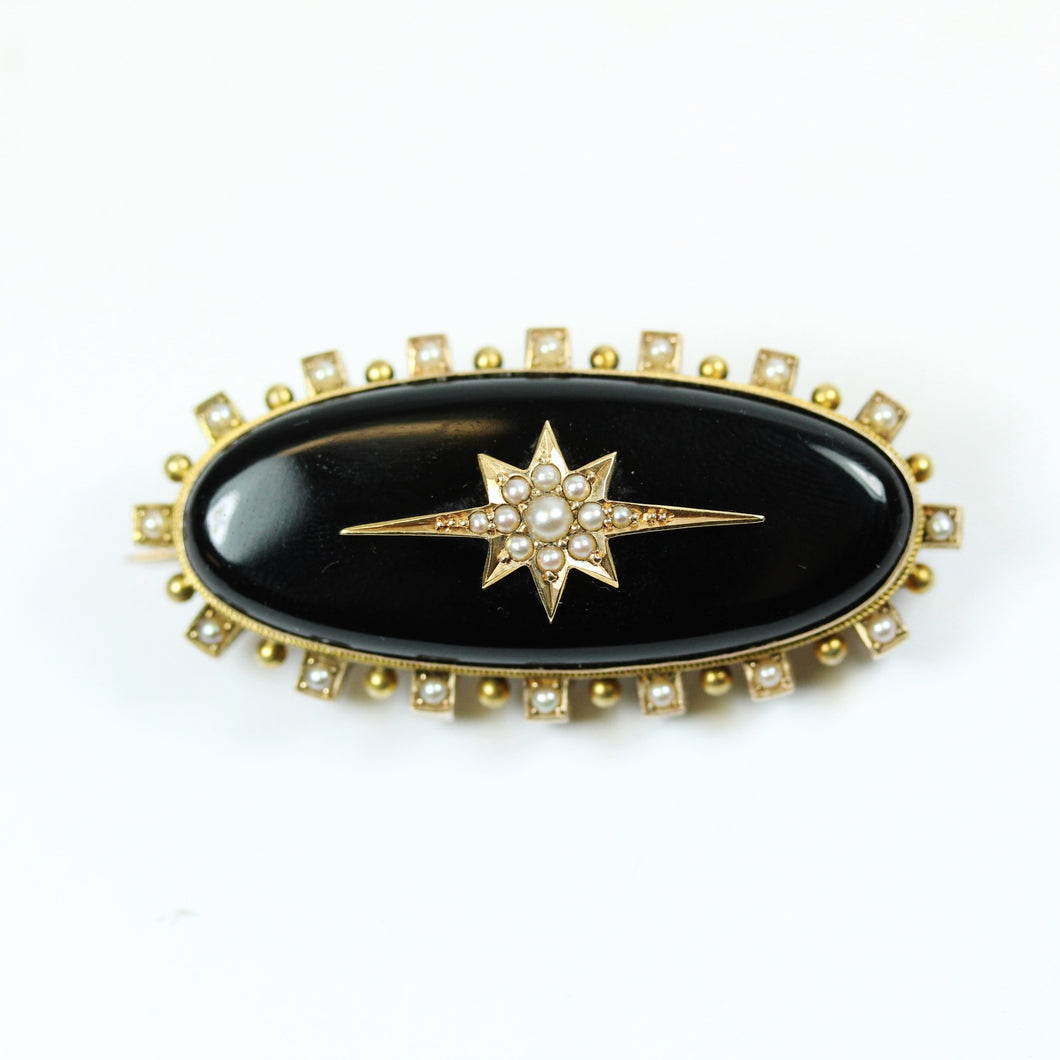 Victorain 15ct Yellow Gold Black Onyx And Seed Pearl Brooch
