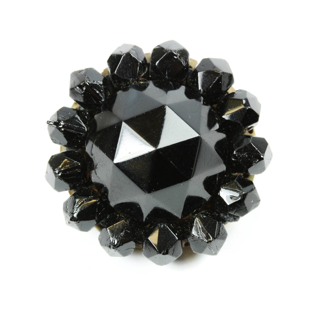 Victorian Black Multi Faceted Dome Whitby Jet Brooch