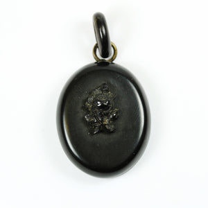 Small Victorian Whitby Jet Mourning Pendant Locket