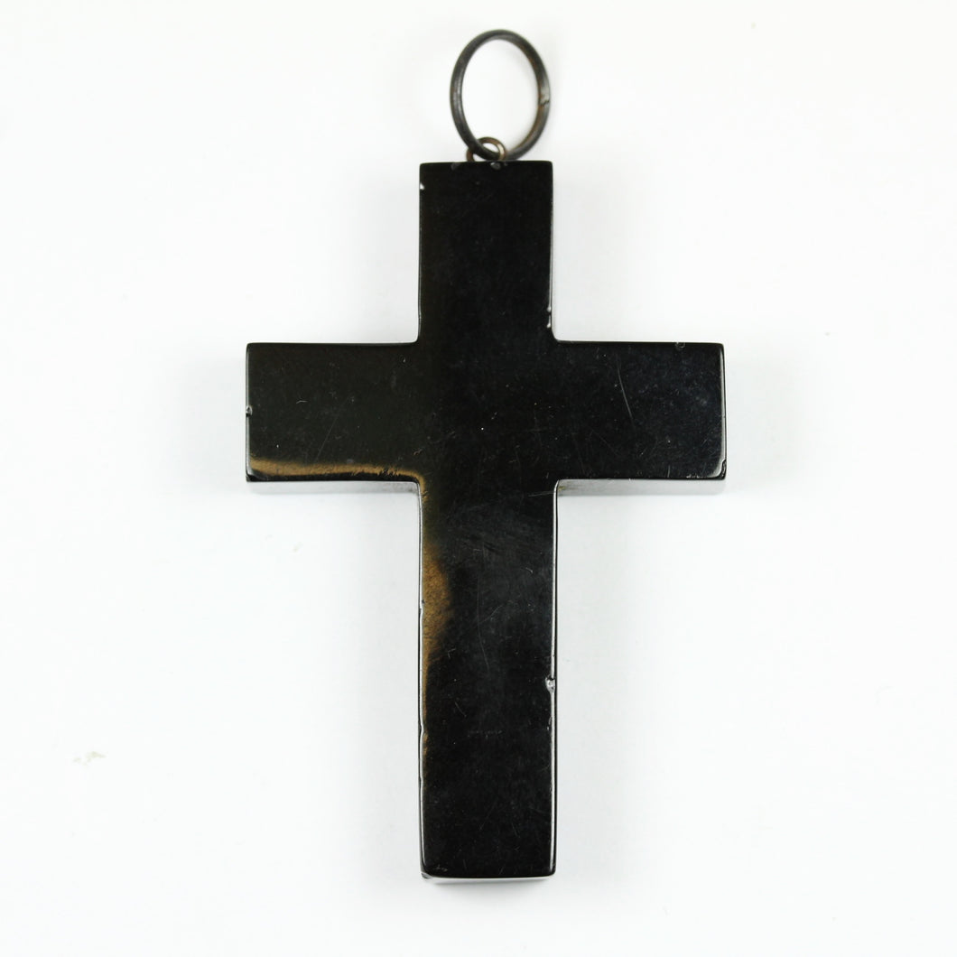 Victorian Black Whitby Jet Crucifix Cross