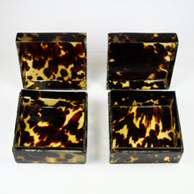 Vintage Pair of Square Shaped Tortoise Shell Boxes