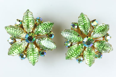 Vintage 1950s   Rhinestone  Flower Clip On Earrings