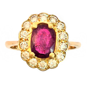 Antique 18ct Yellow Gold Ruby and Diamond Ring