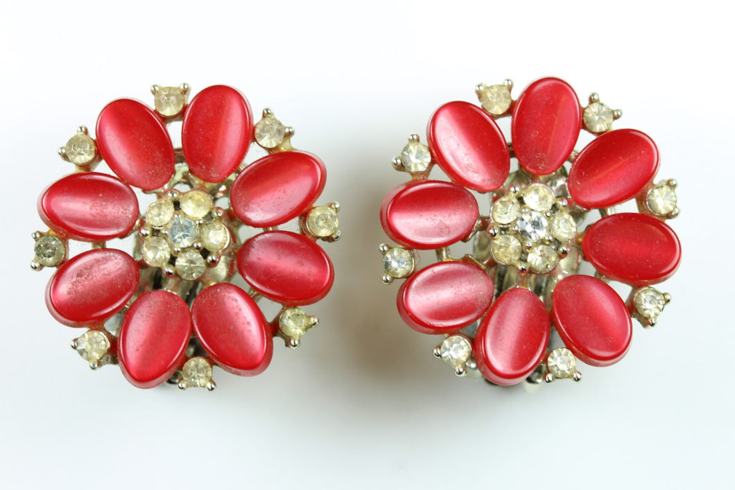 Vintage 1950s  Lisner Red Thermoset Rhinestone Flower Earrings