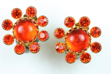 Orange Glass and Crystal Earrings
