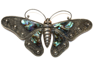 Sterling Silver Paua Shell Butterfly Brooch