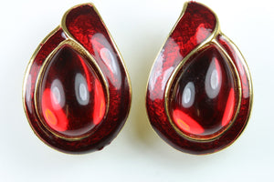 Vintage 1950s RED GLASS AND ENAMEL CLIP EARRINGS