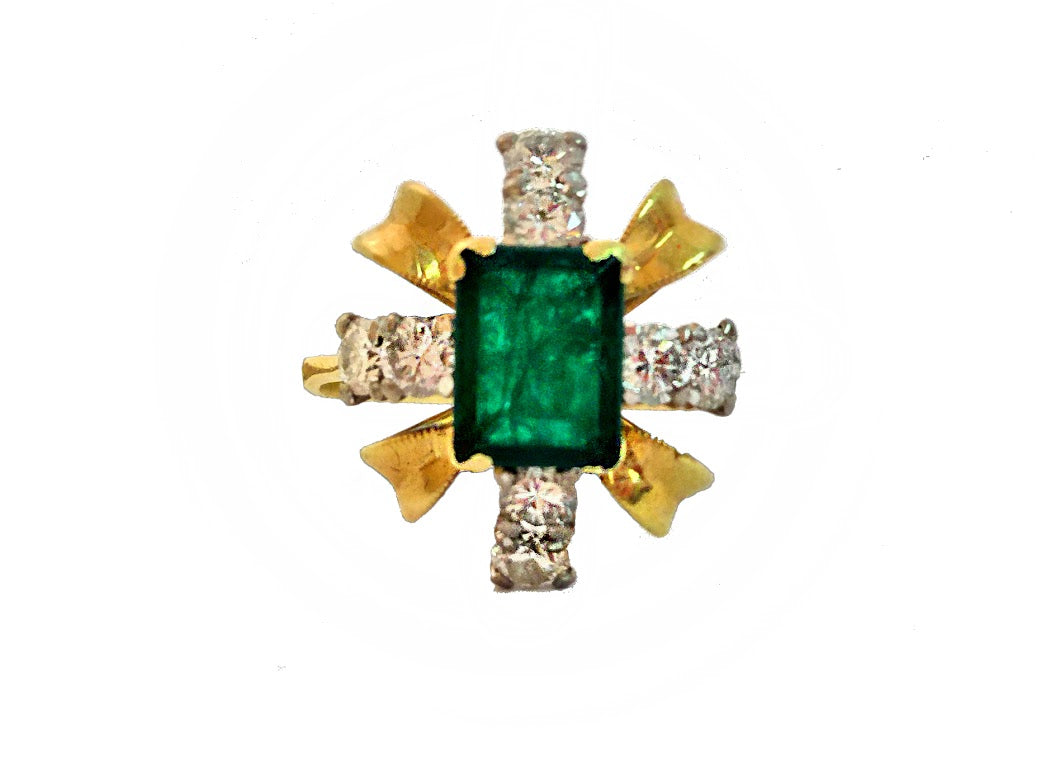 Handcrafted Emerald and Diamond Dress Ring