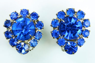 Vintage 1950s Blue Crystal Clip Earrings