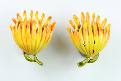 Vintage 1940s Enamel Flower Earrings
