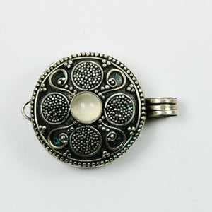 Sterling Silver Carved Moonstone Locket