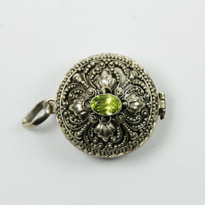Sterling Silver Carved Peridot Locket