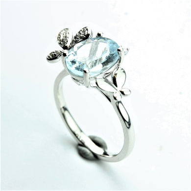 Sterling Silver Oval Cut Aquamarine and Cubic Zirconia Ring