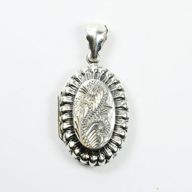 Sterling Silver Pattern Oval Locket
