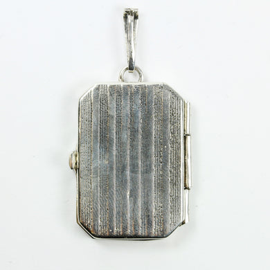 Sterling Silver Stripe Rectangle Locket