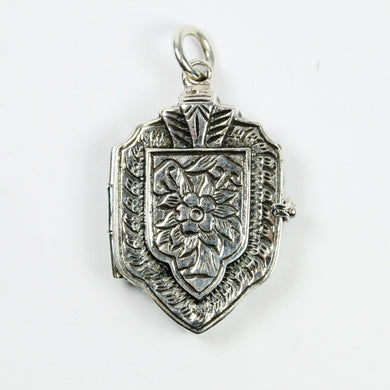 Sterling Silver Carved Floral Locket