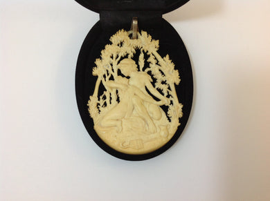 Hand Carved Antique Ivory Grecian Pendant