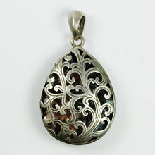 Sterling Silver Tear Drop Floral Carved Enamel Locket