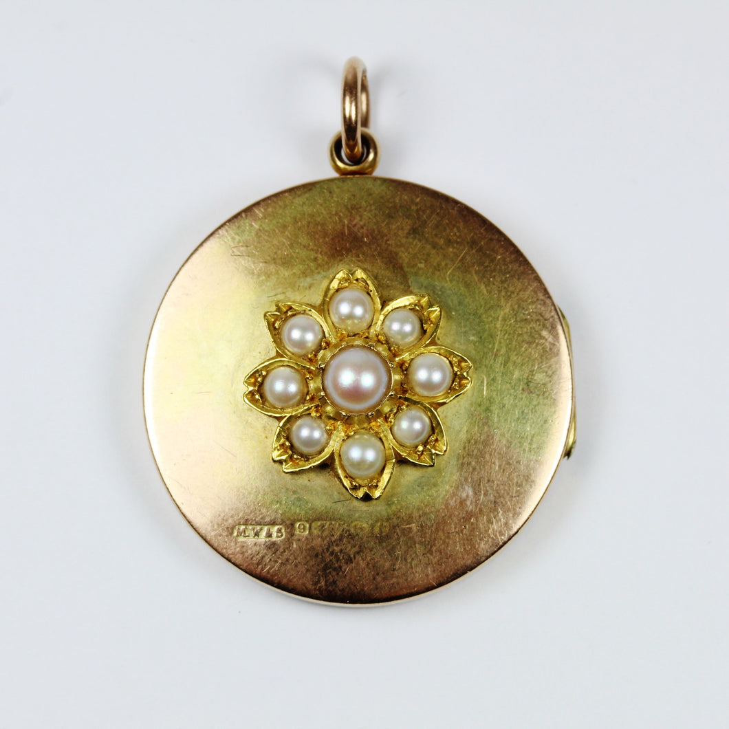 Georgian 9ct Yellow Gold Pearl Locket