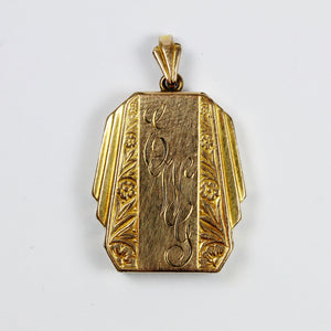 Antique 9ct Yellow Gold Filled Engraved Locket