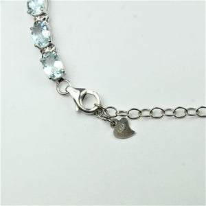 Sterling Silver Oval Cut Aquamarine and Cubic Zirconia Bracelet