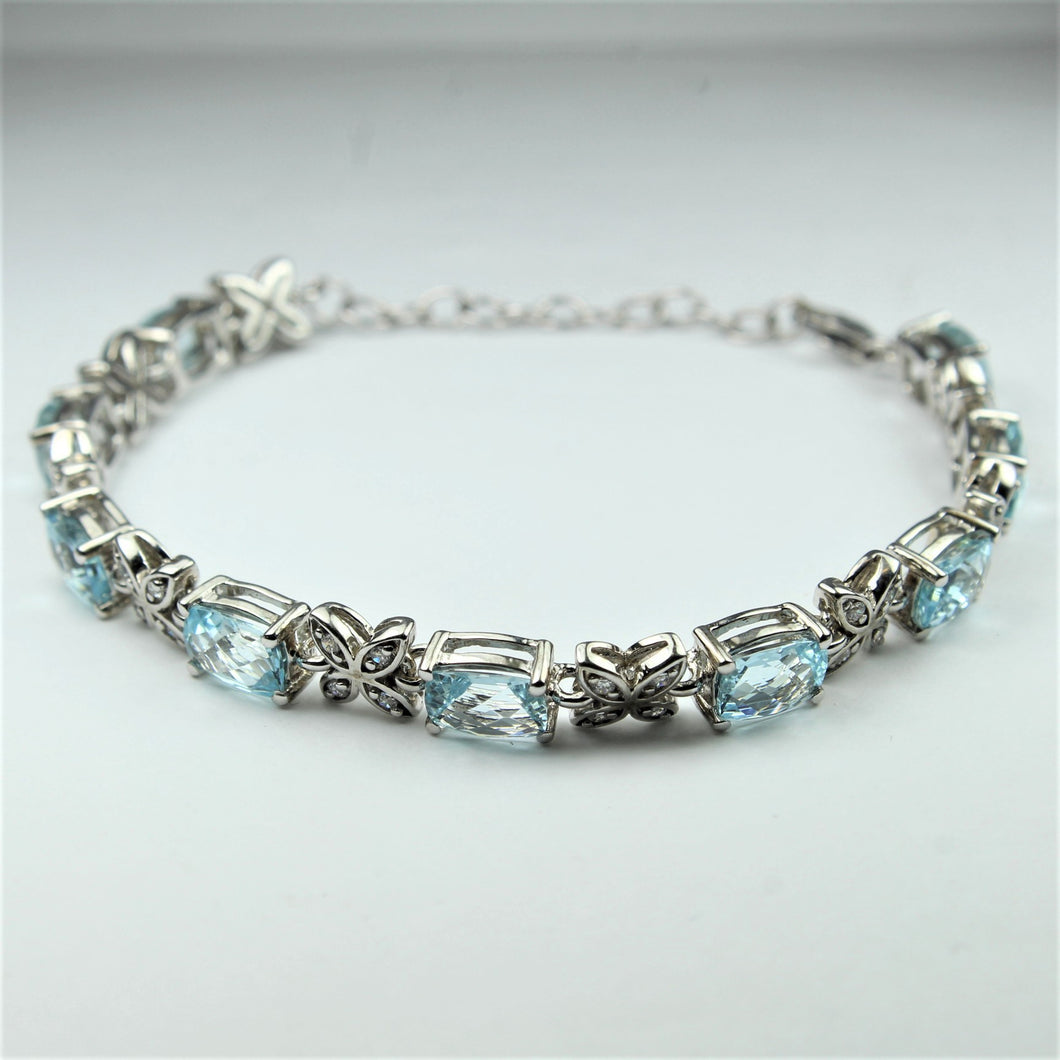 Sterling Silver Faceted Cut Aquamarine and Cubic Zirconia Bracelet