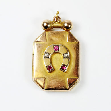 9ct Yellow Gold Antique Locket with Ruby and Diamond Horse Shoe