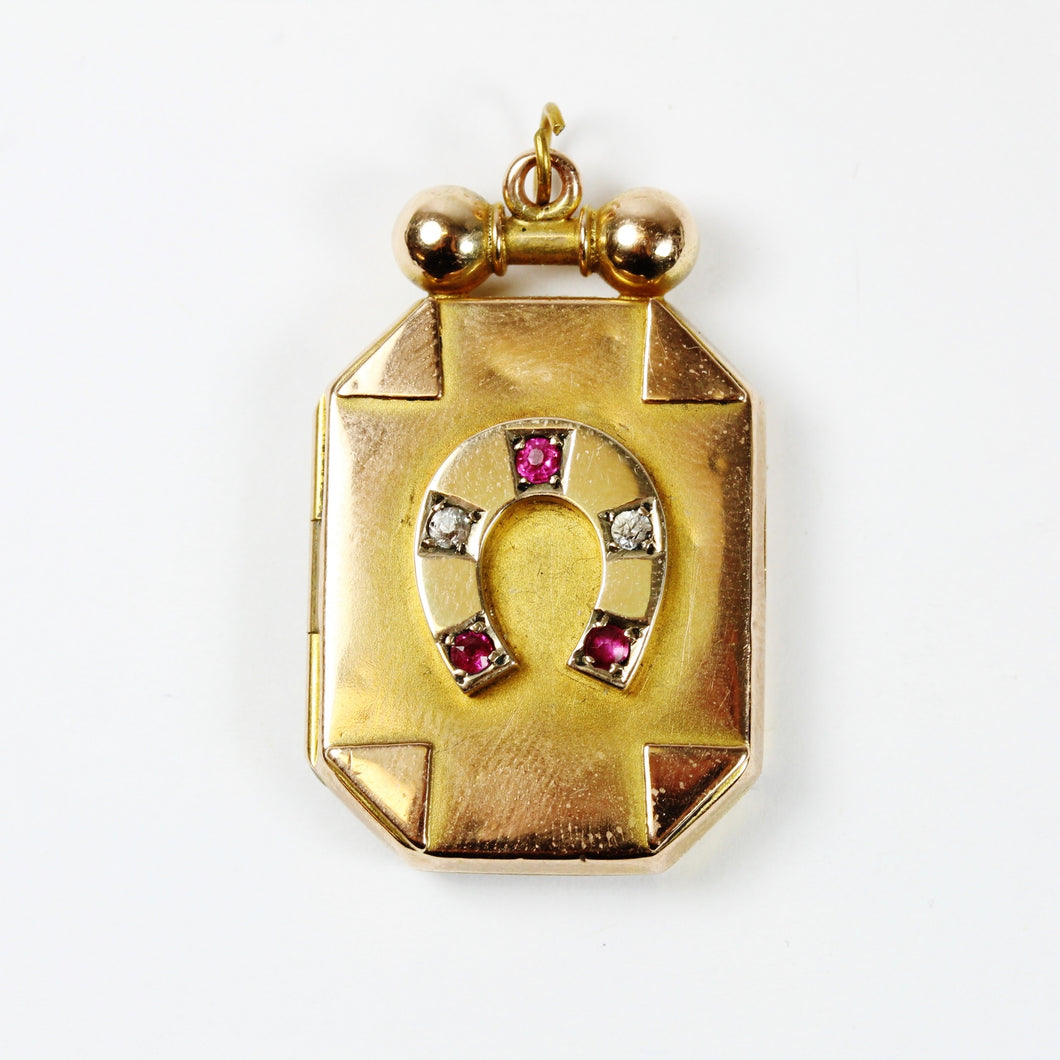 Antique 9ct Yellow Gold Ruby and Diamond Horseshoe Locket