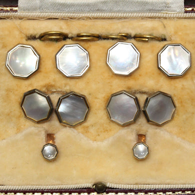 Antique Brass and Mother of Pearl Cufflink, Shirt Stud and Button Set