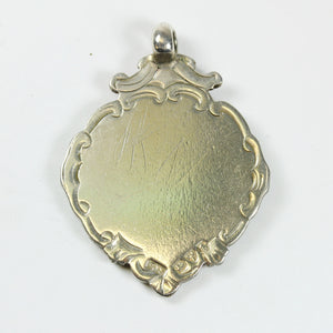 Sterling Silver Art Deco Pendant with 9ct Rose Gold Shield